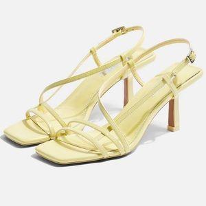 🆕 Topshop STRIPPY Lime Heeled Sandals